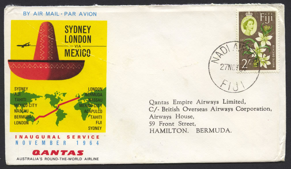 1964 Qantas Sydney London via Fiji FF