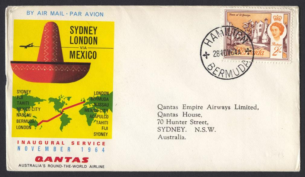 1964 Qantas Sydney London via Mexico FF