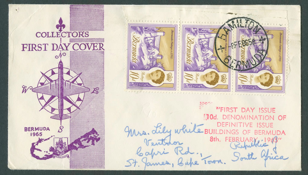 1965 Buidlings of Bermuda 10d FDC