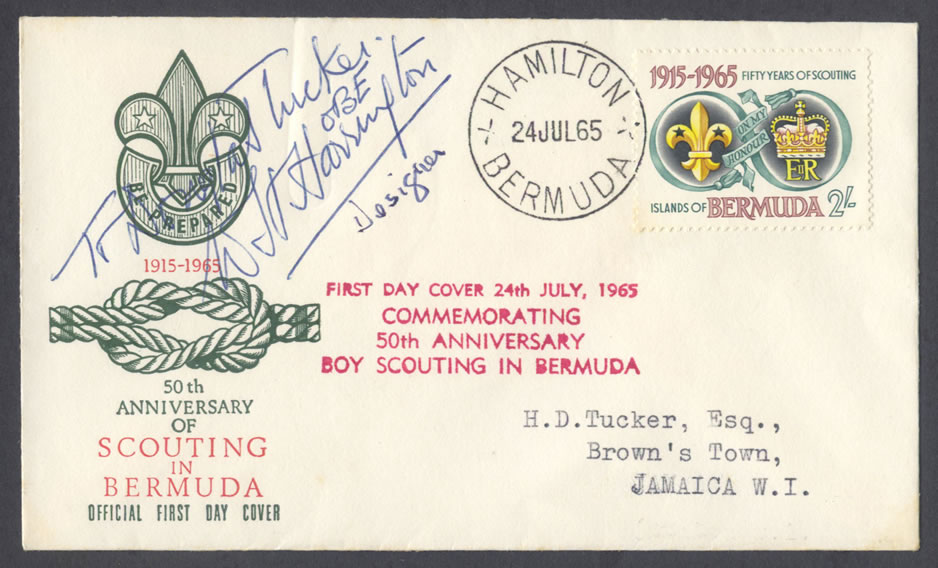 1965 Fifty Years of Scouting 2/- FDC Signed by Designer