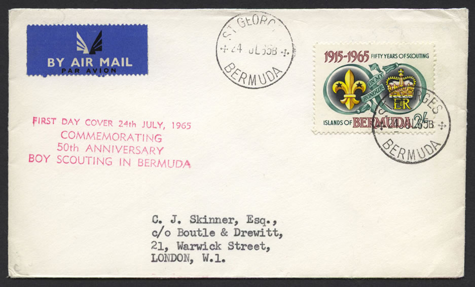 Bermuda  1965 Boy Scouts First Day Cover