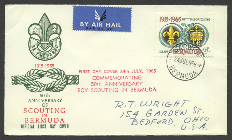 1965 Fifty Years of Scouting 2/- Warwick FDC