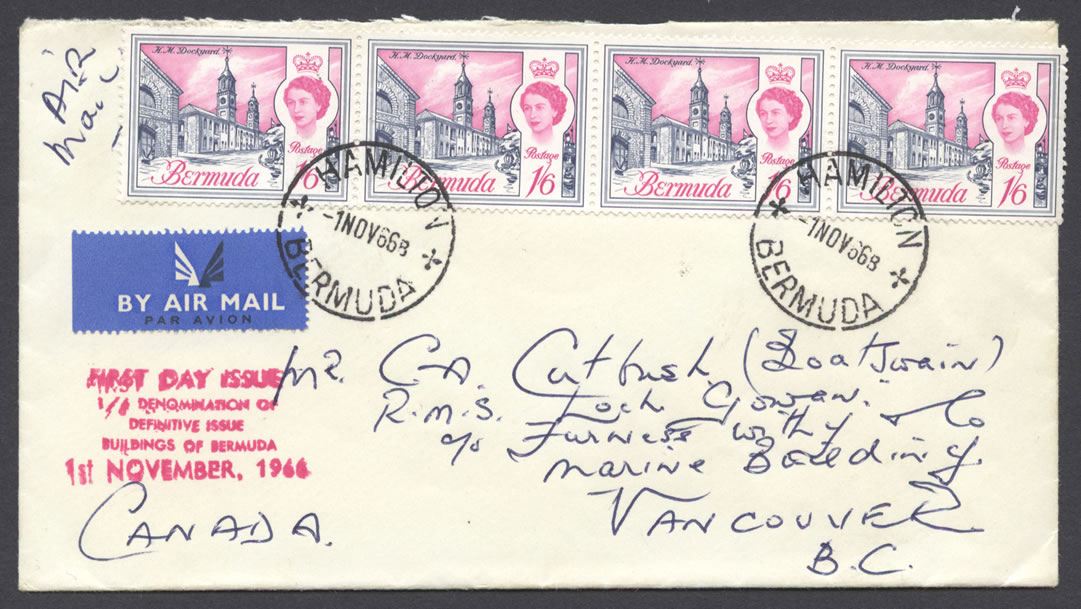 1966-11-01-buildings-of-bermuda-4x1s6d-strip-h-fdc