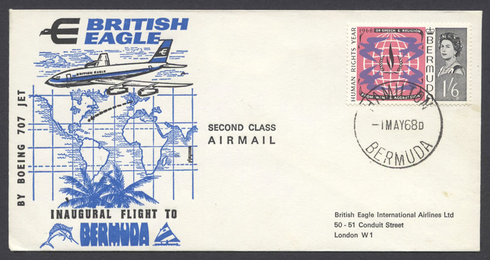 1968 British Eagle Inaugural Flight return to London FF
