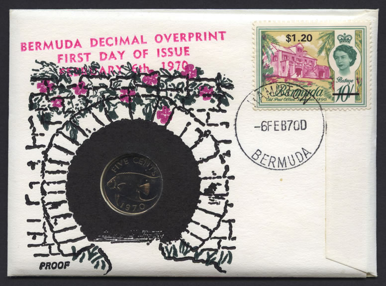 1970 Buildings Decimal Overprint $1.60 with 5c coin proof FDC