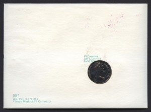 1970 Buildings Decimal Overprint $1.60 with 5c coin proof reverse FDC