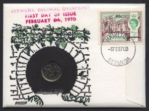 1970 Buildings Decimal Overprint 60c with 10c coin proof FDC