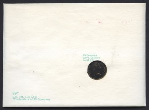 1970 Buildings Decimal Overprint 60c with 10c coin proof reverse FDC