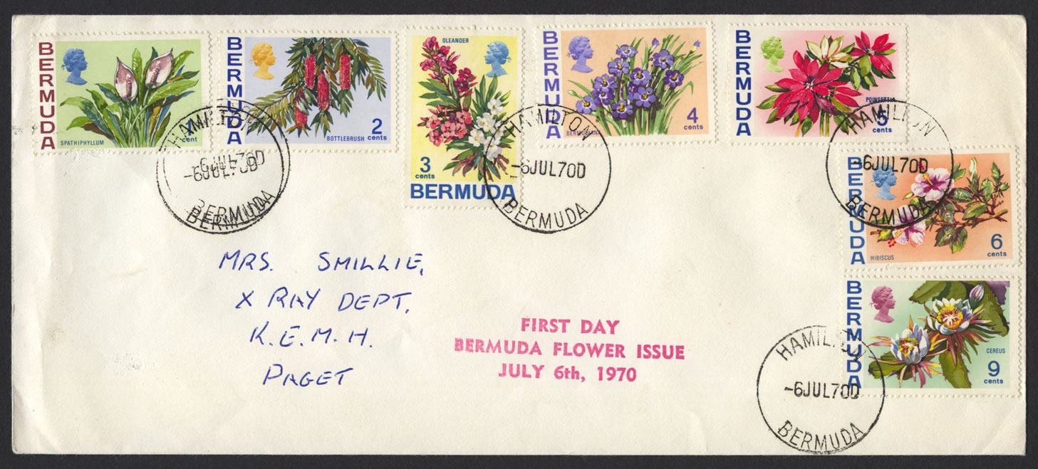 1970 Flower Definitives 1c to 9c FDC