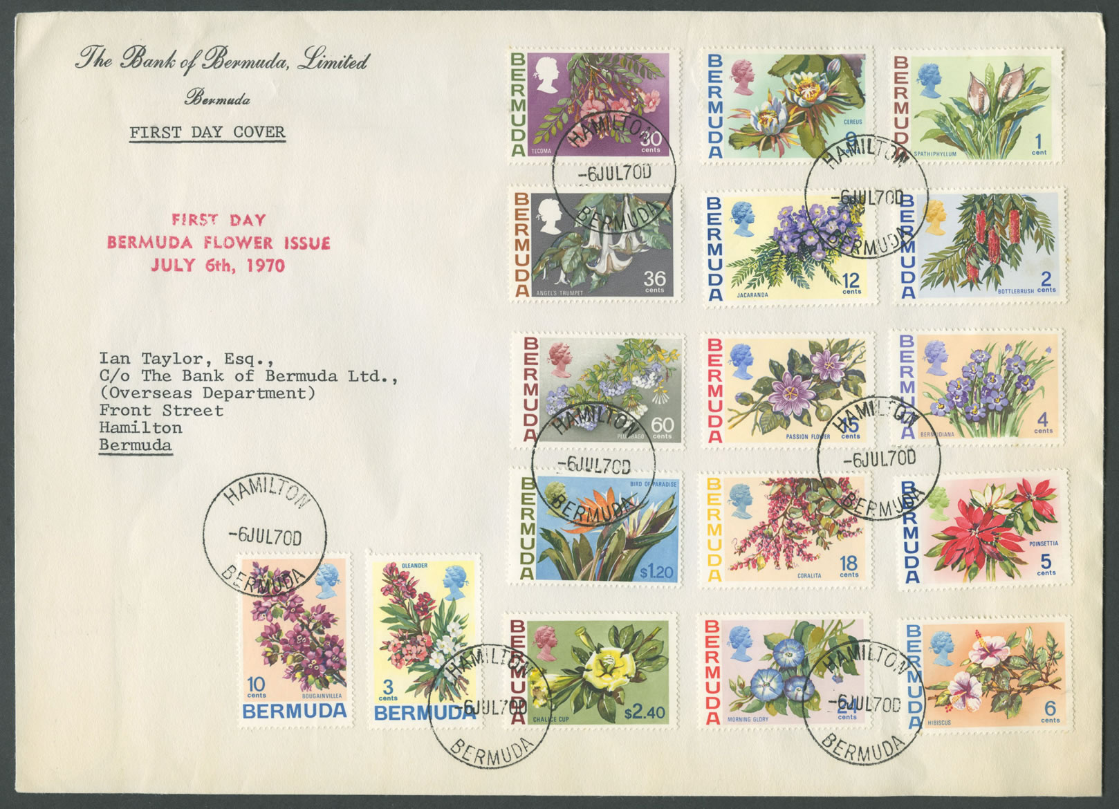 1970 Bermuda Flower Issue Set FDC