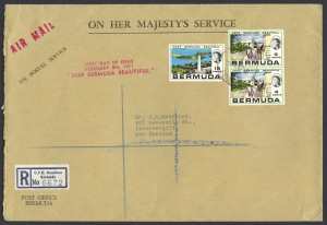 1971 Keep Bermuda Beautiful 4c and 18c OHMS FDC