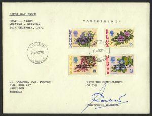 1971 Heath Nixon Bermuda Talks Overprint PMG signed FDC
