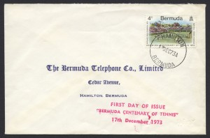 1973 Bermuda Centenary of Tennis FDC
