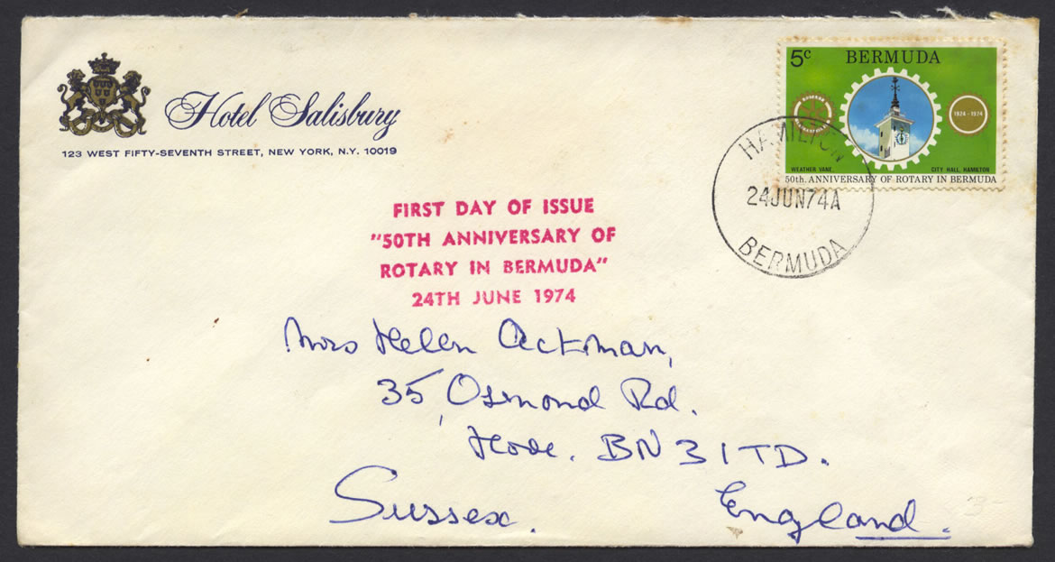 1974 50th Anniversary of Rotary in Bermuda FDC