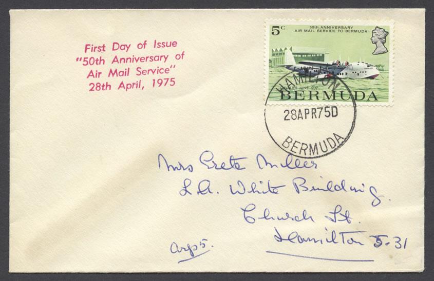 1975 50th Anniversary Air Mail Service 5c FDC