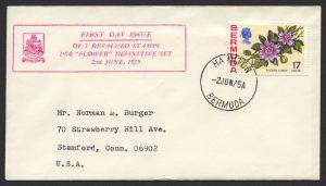 1975 Revalued Bermuda Flowers definitives 17c Hamilton FDC