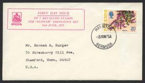 1975 Revalued Bermuda Flowers definitives 20c Hamilton FDC