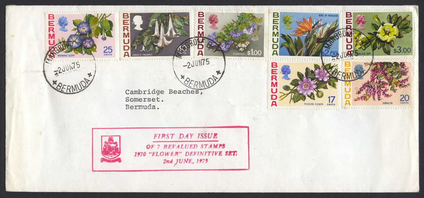 1975 Revalued Bermuda Flowers definitives FDC