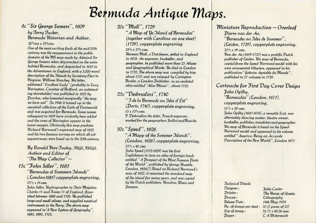 1979 Bermuda Antique Maps insert FDC