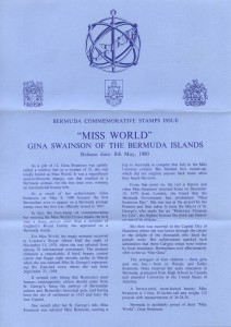 1980 Bermuda Miss World liner FDC