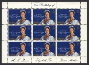 1980 Queen Mother 80th Birthday miniature sheetFDC