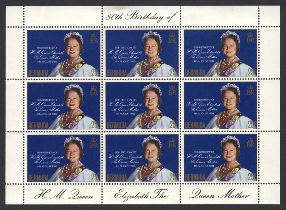 1980 Queen Mother 80th Birthday sheetlet of 9 FDC