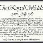 1981 Royal Wedding Charles and Diana insert Benham FDC
