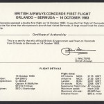 1983 BA Concorde Orlando to Bermuda insert First Flight