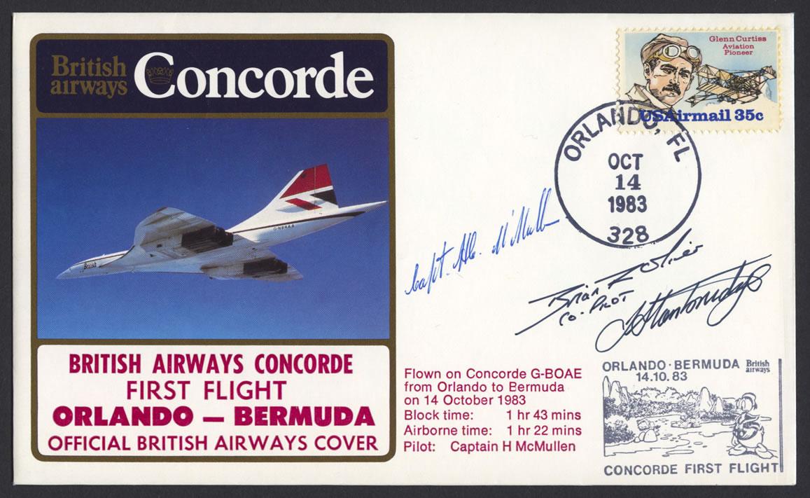 1983 BA Concorde Orlando to Bermuda Signed First Flight