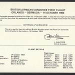 1983 BA Concorde Orlando to Bermuda Signed Insert First Flight