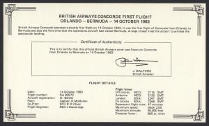 1983 BA Concorde Orlando to Bermuda Signed Insert First Flight