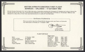 1983 British Airways Concorde Bermuda to Orlando insert First Flight