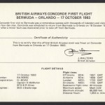 1983 British Airways Concorde Bermuda to Orlando insert Signed First Flight