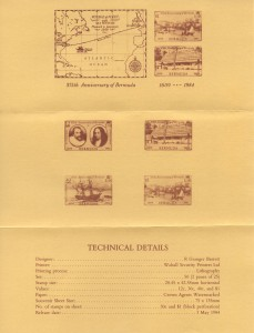 1984 375th Anniversary of Bermuda insert reverse FDC