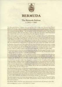 1987 Bermuda Transport Part I Bermuda Railway insert front FDC