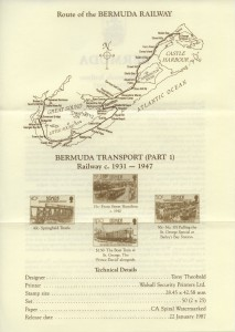 1987 Bermuda Transport Part I Bermuda Railway insert reverse FDC