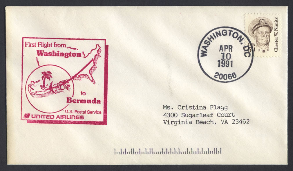 1991 United Airlines Washington DC to Bermuda First Flight