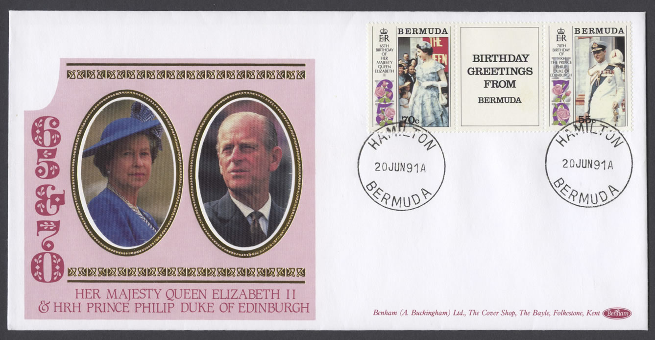 1991 Queen Elizabeth II and Prince Philip DoE Birthdays Benham FDC