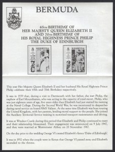 1991 Queen Elizabeth II and Prince Philip DoE Birthdays insert FDC