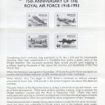 1993 75th Anniversary of the RAF FDC liner