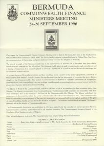 1996 Commonwealth Finance Ministers Meeting liner