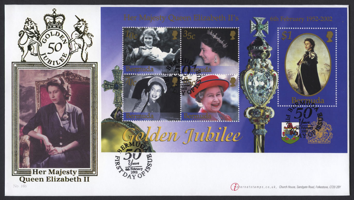 2002 QEII Golden Jubilee Miniature / Souvenir Sheet FDC