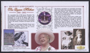 2002 Queen Elizabeth the Queen Mother Souvenir Sheet reverse FDC