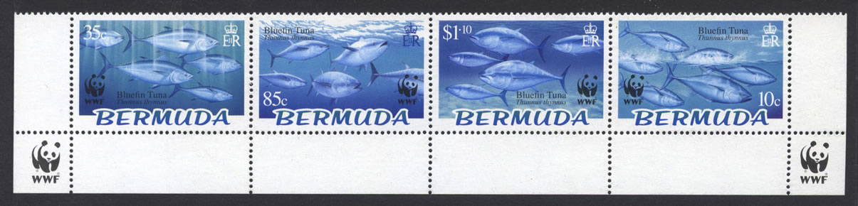 2004 WWF Endangered Species Bluefin Tuna marginal strip of 4