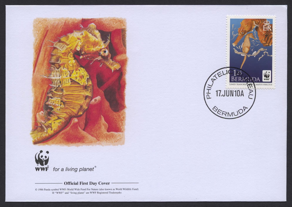 2010 WWF Lined Seahorse $1.25 FDC