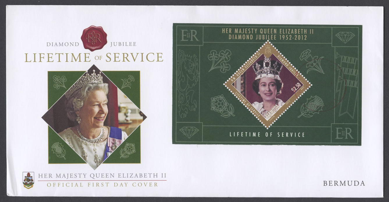 2012 Diamond Jubilee Lifetime of Service Miniature Sheet FDC
