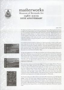 2012 Masterworks Museum of Bermuda Art 1987-2012 insert FDC