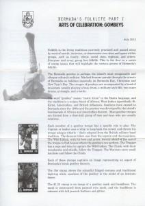2013 Bermuda's Folklife Part I Gombeys insert rev FDC