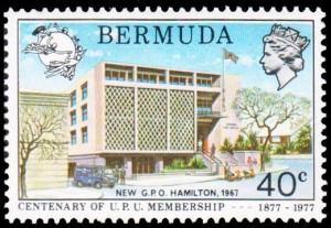 New GPO Hamilton on 1977 UPU Centenary 40c stamp