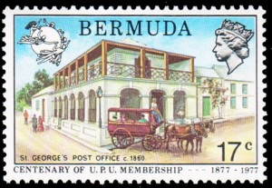 St George's Post Office on 1977 UPU Centenary 17c stamp